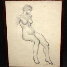 Arte: JOSEP CLARÀ AYATS (OLOT, 1878 - BARCELONA, 1958) DIBUJO A CARBON. DESNUDO FEMENINO. Lote 51401131