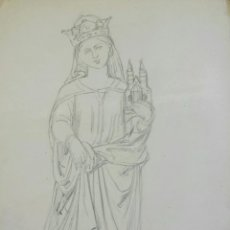 Arte: MARAVILLOSO RETRATO ORIGINAL DE LA VIRGEN A LAPIZ, FIRMADO KUNIGEMDE INTERESANTE TRAZO. Lote 51453008