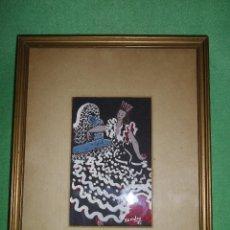 Arte: ELEGANTE DIBUJO FLAMENCA FUENTE GOUACHE GOUACH ORIGINAL ILUSTRACIÓN FIRMADO 1953 ENMARCADO. Lote 51654088