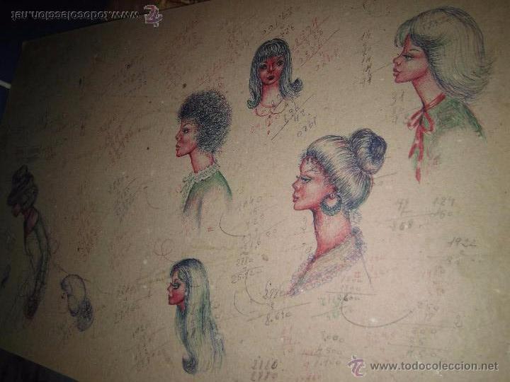 DIBUJOS ANTIGUOS DISEÑOS DE MODA DE PEINADOS CON APUNTES EN FRANCES Y CASTELLANO MEDIADOS DE SIGLO (Arte - Dibujos - Contemporáneos siglo XX)