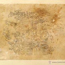 Arte: INTERESANTE DIBUJO ORIGINAL DEL SIGLO XVIII, PAREJA BRINDANDO.. Lote 51685181