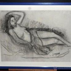 Arte: DIBUJO A CARBÓN DE AUTOR ILEGIBLE. DESNUDO FEMENINO FECHADO DEL AÑO 1949. Lote 51956235