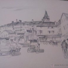 Arte: PAISAJE PLAZA DE ÉPOCA,CARBONCILLO.FIRMADO A . JACGER. AÑOS 30/40. Lote 52328693