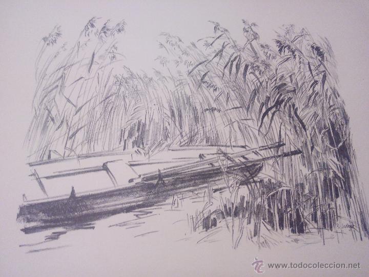 PAISAJE BARCA ENTRE EL CAÑIZAL ,CARBONCILLO.FIRMADO A . JACGER. AÑOS 30/40 (Arte - Dibujos - Contemporáneos siglo XX)