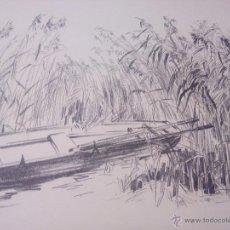 Arte: PAISAJE BARCA ENTRE EL CAÑIZAL ,CARBONCILLO.FIRMADO A . JACGER. AÑOS 30/40. Lote 52329307