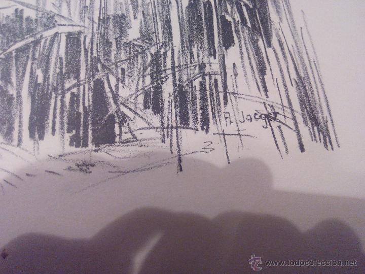 Arte: PAISAJE BARCa ENtre el cañizal ,CARBONCILLO.FIRMADO A . JACGER. AÑOS 30/40 - Foto 3 - 52329307