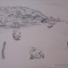 Arte: PAISAJE BARCOS EN EL LAGO ,CARBONCILLO.FIRMADO A . JACGER. AÑOS 30/40. Lote 52329355