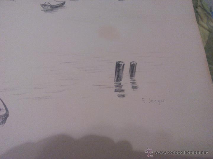 Arte: PAISAJE BARCOS EN EL LAGO ,CARBONCILLO.FIRMADO A . JACGER. AÑOS 30/40 - Foto 3 - 52329355