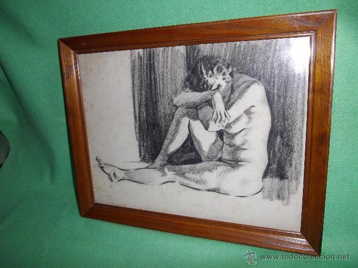 GRAN DIBUJO AÑOS 40 PASTEL ORIGINAL HARRY ARTHUR RILEY ILUSTRACIÓN PIN UP DESNUDO MUJER DAMA (Arte - Dibujos - Contemporáneos siglo XX)