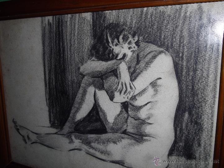 Arte: Gran dibujo años 40 pastel original Harry Arthur Riley ilustración pin up desnudo mujer dama - Foto 2 - 52331041