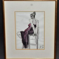 Arte: CARME ALBAIGES SANS (BARCELONA, 1956) TÉCNICA MIXTA SOBRE PAPEL DEL AÑO 1986. DAMA SENTADA. Lote 52340240