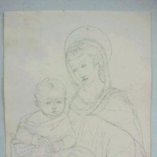 Arte: RETRATO ORIGINAL A LAPIZ, MADONNA CON NIÑO JESUS, ESTILO RENACENTISTA, MEDIADOS SIGLO XIX, DONATELLO. Lote 52359501
