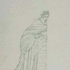 Arte: RETRATO ORIGINAL CLASICO, REALIZADO A LAPIZ, MEDIADOS DEL SIGLO XIX, POLYHYMNIA. Lote 52359964