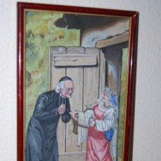 Arte: DIBUJO ORIGINAL - TÉMPERA - ESCENA HUMORÍSTICA - PICARESCA - CURA Y CAMPESINA - FINALES S.XIX. Lote 52486165