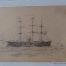 Arte: DIBUJO A LAPIZ DE SIGLO XIX,MAGNIFICA REALIZACION,FIRMADO V.ROMERO. Lote 52515959