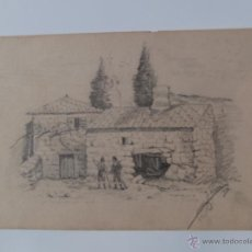 Arte: DIBUJO FIRMADO,MASIA CATALANA 1881,J.SERRA,BUENA MANO. Lote 52516048