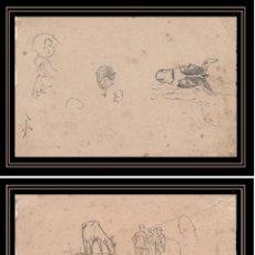 Arte: JAUME PAHISSA. DIBUJOS A TINTA SOBRE DOS PAPELES 10,7 CM X 16,2 CM Y 11,1CM X 18 CM. FINALES S. XIX. Lote 52522754