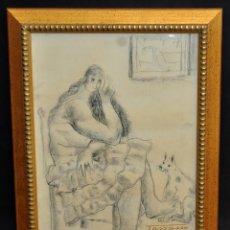 Arte: CASIMIRO MARTÍNEZ TARRASSÓ (BARCELONA, 1900-1979) DIBUJO A CARBÓN DEL AÑO 1978. PERSONAJE. Lote 52628016