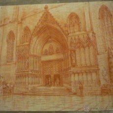 Arte: ESPECTACULAR DIBUJO DE SANTA MARIA DEL MAR EN BARCELONA. ANONIMO.. Lote 52822041