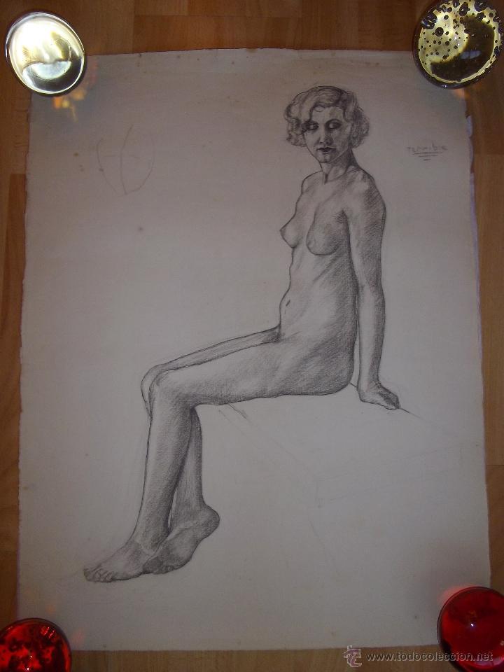 BELLO DIBUJO DESNUDO MUJER DAMA XIX ALEMANIA ORIGINAL ILUSTRACIÓN ART DECO BAUHAUS MODERNISTA (Arte - Dibujos - Contemporáneos siglo XX)