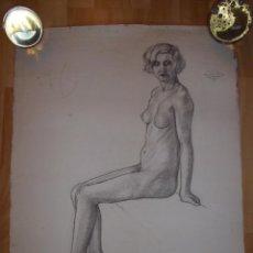 Arte: BELLO DIBUJO DESNUDO MUJER DAMA XIX ALEMANIA ORIGINAL ILUSTRACIÓN ART DECO BAUHAUS MODERNISTA. Lote 52929882