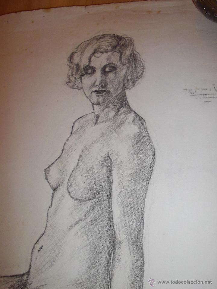 Arte: Bello dibujo desnudo mujer dama XIX Alemania original ilustración Art Deco Bauhaus modernista - Foto 2 - 52929882