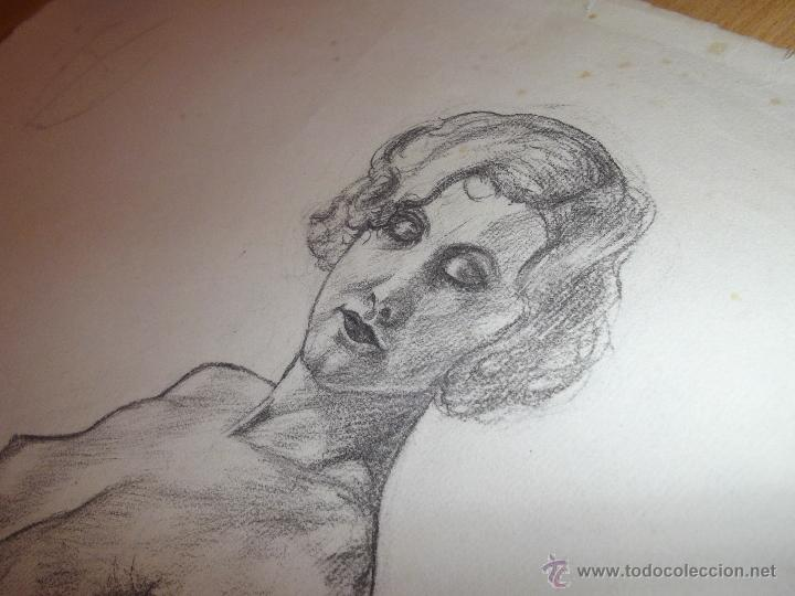 Arte: Bello dibujo desnudo mujer dama XIX Alemania original ilustración Art Deco Bauhaus modernista - Foto 3 - 52929882