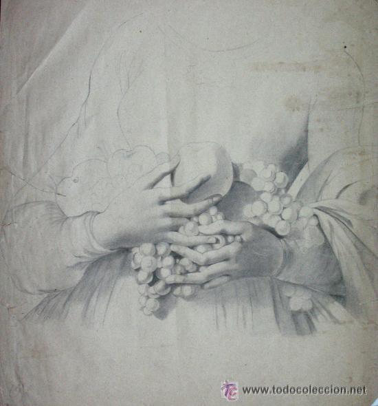 PRECIOSO ANTIGUO DIBUJO DE MANOS FIRMADO : LAMBERT. 1863 GRAN TAMAÑO SIGLO XIX (Arte - Dibujos - Modernos siglo XIX)