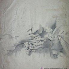 Arte: PRECIOSO ANTIGUO DIBUJO DE MANOS FIRMADO : LAMBERT. 1863 GRAN TAMAÑO SIGLO XIX. Lote 52932910