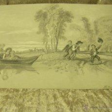 Arte: DIBUJO A LÁPIZ DE UN PAISAJE IMPRESIONISTA DE FRANCIA FIRMADO EN EL AÑO 1860 POSEE FIRMA. Lote 53031624
