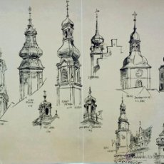 Arte: EXCELENTE ESTUDIO ORIGINAL A PLUMILLA, SIGLO XIX CIRCA 1880, ESTUDIO TORRES IGLESIA, 49 X 34 CM. Lote 53056675