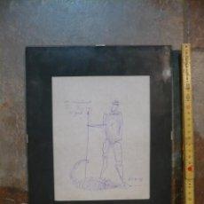 Arte: DIBUJO A BOLIGRAFO DE SAN JORJE, DEDICADO DE EMILIA XARGAY, ESCULTORA DE GERONA. SANT JORDI. Lote 53105176