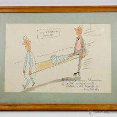 Arte: JOAQUIM MUNTANYOLA, DIBUJO EN TINTA Y COLOR, 1962. DEDICADO. 18X28CM. MARCO: 37X27CM.. Lote 53120122