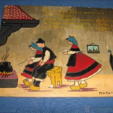 Arte: DIBUJO AL OLEO CON LEYENDA EN GALLEGO REALIZADO SOBRE PANEL POR A.V. PALACIOS - EL D LAS FOTOS 20X25. Lote 53132856