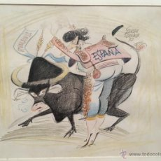 Arte: DIBUJO COLOREADO TORERO TORO FUTBOL SELECCION ESPAÑOLA RUMANIA PARTIDO 77 LORENTE ARTISTA (6). Lote 53228038