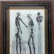 Arte: ESQUELETOS,.-CIRCA 1950-80.- TINTA CHINA / PAPEL.- INTERESANTE CUADRO.. Lote 32107591
