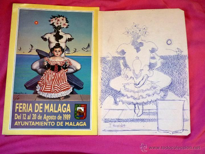 EXCEPCIONAL BOCETO CARTEL DE FERIA DE MÁLAGA PINTOR PACO HERNÁNDEZ (Arte - Dibujos - Contemporáneos siglo XX)