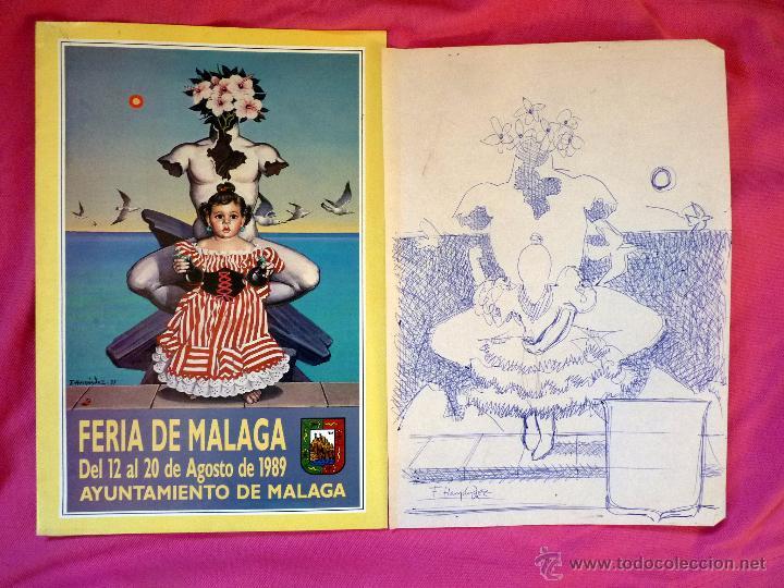 Arte: EXCEPCIONAL BOCETO CARTEL DE FERIA DE MÁLAGA PINTOR PACO HERNÁNDEZ - Foto 5 - 53388574