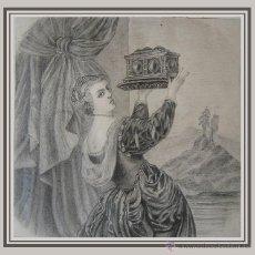 Arte: DIBUJO A LAPIZ GRAFITO SOBRE PAPEL. S. XIX. 15 CM X 15,5 CM. ANÒNIMO.. Lote 53415792