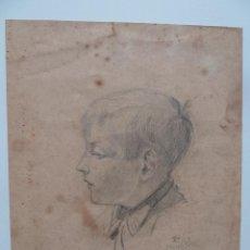 """Arte: DIBUJO DE CABEZA DE NIÑO - ORIGINAL A LÁPIZ - FIRMADO """"S C 1923"""". Lote 53435948"""