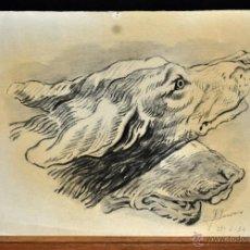 Arte: ILEGIBLE FECHADO DEL AÑO 1954. DIBUJO A CARBON. PERROS. Lote 53462915