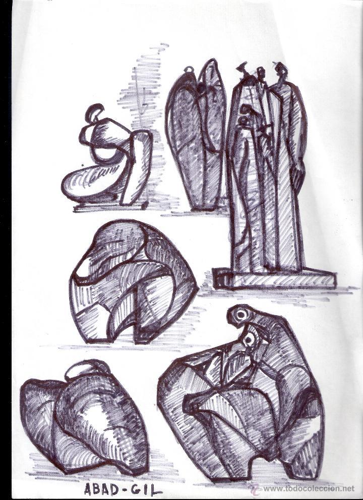 ANTONIO ABAD - GIL, ESCULTOR (CUENCA,1921 – LLEIDA, 1987). DIBUJO TINTA/PAPEL. 30 X 21 CMT (Arte - Dibujos - Contemporáneos siglo XX)
