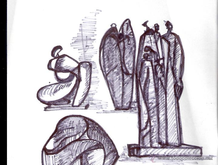 Arte: Antonio Abad - Gil, escultor (Cuenca,1921 – Lleida, 1987). Dibujo tinta/Papel. 30 x 21 cmt - Foto 2 - 53624703