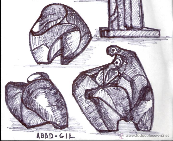 Arte: Antonio Abad - Gil, escultor (Cuenca,1921 – Lleida, 1987). Dibujo tinta/Papel. 30 x 21 cmt - Foto 3 - 53624703