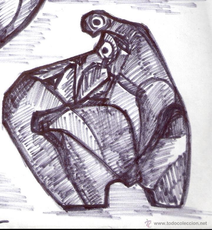Arte: Antonio Abad - Gil, escultor (Cuenca,1921 – Lleida, 1987). Dibujo tinta/Papel. 30 x 21 cmt - Foto 4 - 53624703