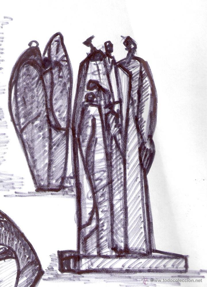 Arte: Antonio Abad - Gil, escultor (Cuenca,1921 – Lleida, 1987). Dibujo tinta/Papel. 30 x 21 cmt - Foto 6 - 53624703