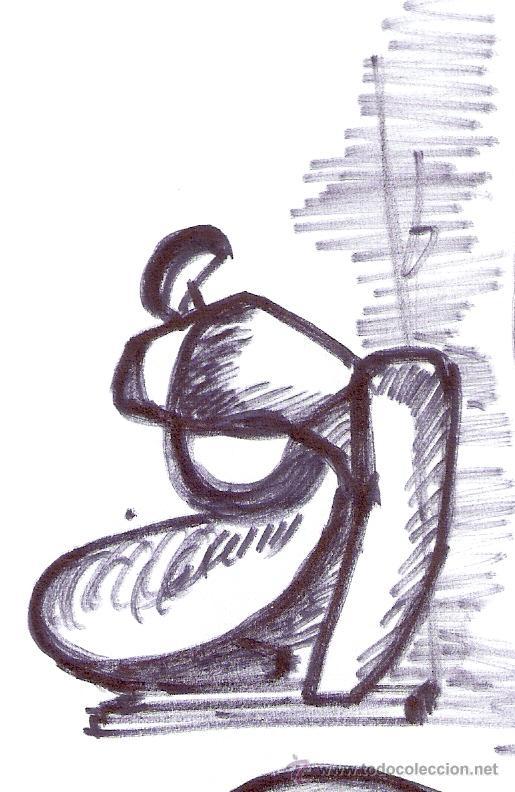 Arte: Antonio Abad - Gil, escultor (Cuenca,1921 – Lleida, 1987). Dibujo tinta/Papel. 30 x 21 cmt - Foto 9 - 53624703