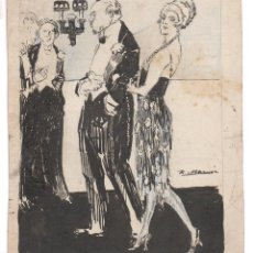 Arte: RICARDO MARÍN LLOVET (1874-1955) DIBUJO EN TINTA SOBRE CARTÓN 26X32 CM.. Lote 53628542