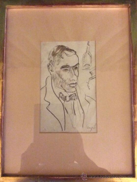 CELSO LAGAR. AUTORRETRATO. MUY RARO. DIBUJO. EXPUESTO EN CRANE KALMAN 1964. (Arte - Dibujos - Contemporáneos siglo XX)