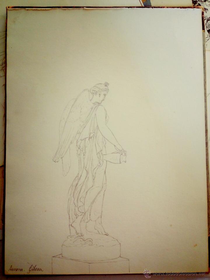 DIBUJO CLÁSICO ORIGINAL DEL SIGLO XIX, EL ARCANGEL, FIRMADO AURORA GIBSON (Arte - Dibujos - Modernos siglo XIX)